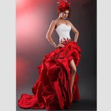 Elegant Red And White Taffeta Wedding Dresses 2015 Custom Short Front Long Back Wedding Gowns Beaded Pleats Hi-Lo Bride Dresses(China (Mainland))