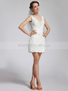 SLEEVELESS V NECK BEADED AND SEQUINED MINI LACE WEDDING DRESS