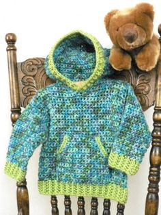 Toddler Hoodie, very cute free crochet pattern,  size 6mos to 6 yrs
