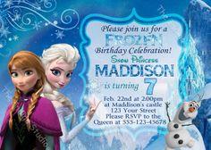 Frozen Birthday Party Invitation  Invite Card  by TheIndigoStudio, $7.00
