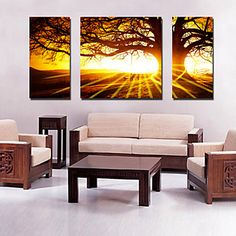 [XmasSale]Canvas Set of 3 Landscape Big Tree in Sunset Stretched Canvas Print Ready to Hang – AUD $ 61.91