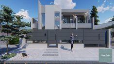 Diseño de Fachadas para Obra en Construcción Basketball Court, Interiors, Kitchen Design, Kitchens, Studio Apartment Design, Exterior Design, Buenos Aires, Trendy Tree