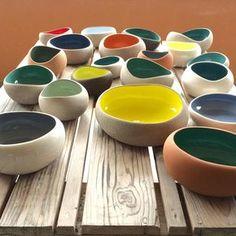 Yellows and greens #myrtozirini #ceramics#corfu#pottery#pebbles#organicshapes#colours