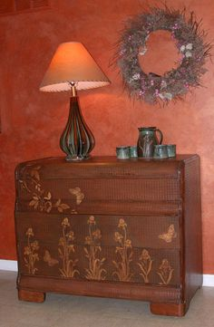This Iris buffet was created with Wood Icing™ Textura Paste using our grid stencil and various stencils