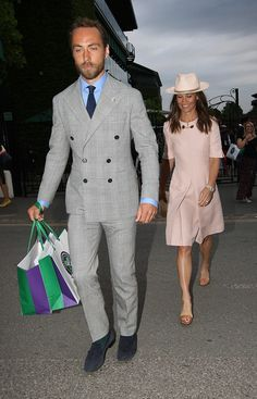 On Tuesday James, and Pippa Middleton, were seen leaving the Tennis, with Pippa dressed in dress by Stella McCartney and a matching Trilby hat Pippa Middleton Dress, Pippa Dress, James Middleton, Carole Middleton, Middleton Family, Pippa And James, Trilby Hat, Wimbledon, Duchess Of Cambridge