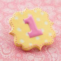 Birthday Number Cookies - Number One Polka Dot Cookies - 1 doz - Baby Girl - Pink & Yellow