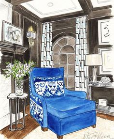 You might remember that @designershay won a @marirdesign illustrated original of one of her rooms. Here it is #IDCDesigners!