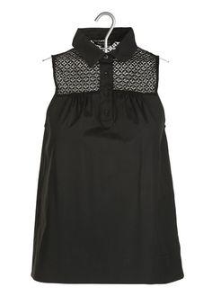E-boutique Chemisier Sans Manches En Popeline De Coton Noir Tara Jarmon femme | Place des Tendances