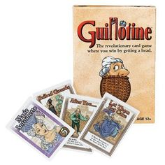 This is Guillotine The Card Game. It's an interesting game to say the least! Guillotine has quite a following these days, and yes, it's hilarious. Players are competing as the best Guillotine operator