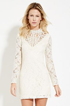 Crocheted Mock-Neck Lace Dress Forever21 Sz Small