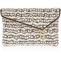 Henri Bendel Debutante Convertible Snake Clutch ($179) ❤ liked on Polyvore featuring bags, handbags, clutches, accessories handbags, white leather purse, real leather handbags, python handbag and leather clutches