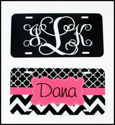 License Plate Car Tag Personalized Monogrammed Car Tag Car Accessories Chevron License Plates New Car Sweet 16Cute Car Accessories For Women by ChicMonogram on Etsy