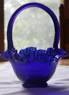 Fenton Cobalt Blue Antique Glass Basket I feel bad.the unfluted one got broken. Fenton Glassware, Antique Glassware, Blue Dishes, Glass Dishes, Bleu Cobalt, Carnival Glass, Glass Collection, Perfume, Glass Art