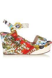 Dolce & GabbanaPrinted brocade wedge sandals