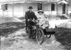 A priest and family on the Triumph outfit (Model P?), mid 1920's Tasmania. Ted Lidster collection