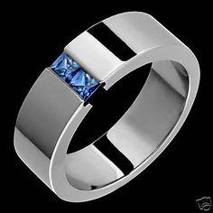 Mens-Titanium-Sapphire-Tension-Set-Wedding-Band-Rings