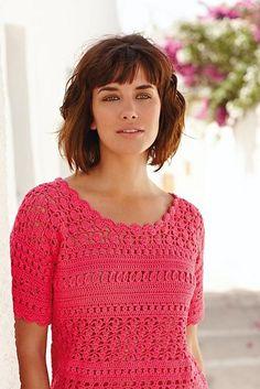 Chorrilho de ideias: Blusa manga curta coral em crochet