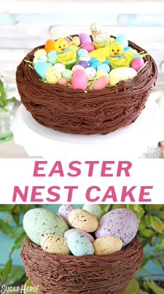 This Easter Nest Cake is by far one of my favorite traditions! I hope it can become one of yours too, it is so fun! You bake it in a bowl, no special pan required! Easter Recipes, Holiday Recipes, Easy Desserts, Dessert Recipes, Recipes Dinner, Desserts Ostern, Easter Cupcakes, Easter Dinner, Easter Treats