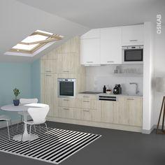 Petite cuisine en bois verni moderne implantation en i for Cuisine fonctionnelle et ergonomique