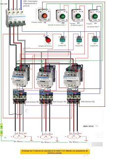 Esquemas eléctricos: ARRANQUE DE 3 MOTORES EN CASCADA EN EL ORDEN  1, 2...