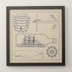 Linen Nautical Framed Art