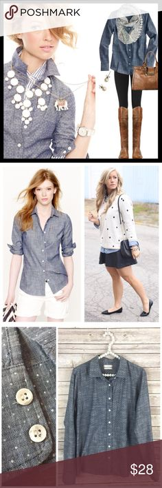 "j. crew // chambray polka dot perfect shirt We took our famous perfect shirt and updated it to combine two of our favorite things—airy chambray and polka dots. With precisely placed bust darts and back princess darts for a slimming, waist-defining fit. Cotton. In great condition. When I was tightening up the buttons, I noticed a couple were slightly chipped, but it's not really noticeable because they are pearly. Size tag is missing. Fits like a 10. Bust measures 21"" across lying flat…"