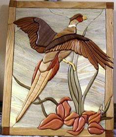 Pheasant Wooden Words, Wooden Art, Wood Wall Art, Intarsia Woodworking, Woodworking Patterns, Stained Glass Birds, Stained Glass Patterns, Bois Intarsia, Intarsia Wood Patterns