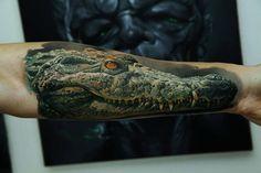 Realistic Crocodile Tattoo on Forearm