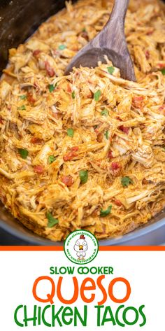 Slow Cooker Queso Chicken Tacos - only 4 ingredients! Chicken slow-cooked in taco seasoning, diced tomatoes and green chiles, and Mexican cheese dip. Serve in tortillas with you Crock Pot Recipes, Chicken Taco Recipes, Crockpot Dishes, Slow Cooker Recipes, Mexican Food Recipes, Cooking Recipes, Easy Crock Pot Meals, Mexican Food Dishes, Chicken Taco Seasoning