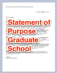 Template of a Statement of purpose for graduate school