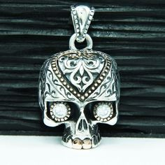 DIAMOND EYES SUGAR SKULL Wz GOLD BRASS 925 STERLING SILVER BIKER PENDANT jo-066w #Handmade #Pendant