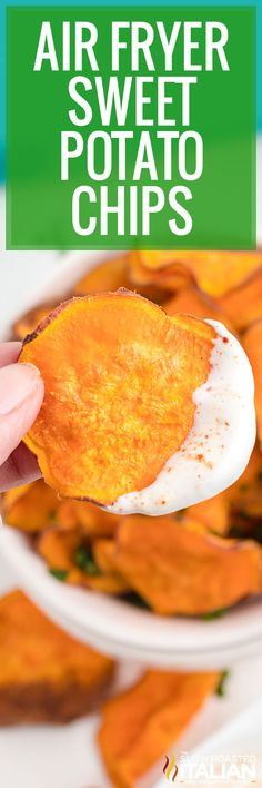 These air fryer sweet potato chips are a healthy guilt-free snack. Make a big batch to munch on throughout the week - if they last that long! Easy Healthy Recipes, New Recipes, Snack Recipes, Healthy Options, Recipes Dinner, Healthy Meals, Delicious Recipes, Vegan Recipes, Vegane Rezepte