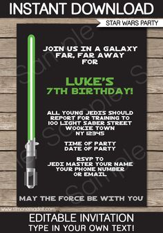 Star Wars Party Invitations   Lightsaber   Choice of Green, Red & Blue   Birthday Party   Editable DIY Theme Template   INSTANT DOWNLOAD $7.50 via SIMONEmadeit.com