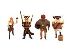More low poly characters. no facial features or hands. texture and shadow is important