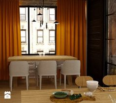 Kuchnie - Jadalnia, styl nowoczesny - zdjęcie od VALENT - Wnętrza & Remonty & Wykończenia & Meble na wymiar Curtains, Home Decor, Homemade Home Decor, Interior Design, Home Interiors, Decoration Home, Window Scarf, Drapes Curtains, Picture Window Treatments