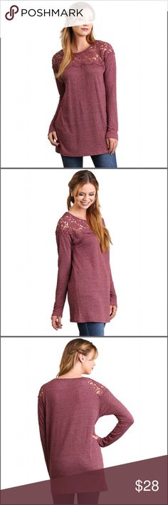 "Tunic with Lace Detail Long sleeve tunic with lace detail. The fabric is very soft. Additional details:     Color: Wine   Fabric: 60% cotton/40% polyester   Size info:  Fits true to size    Model is 5'9"" and wearing a small Tops Tunics"