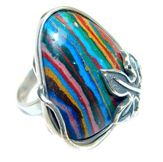 $50.85 Rainbow+Calsilica+Sterling+Silver+handcrafted+ring+size+adjustable at www.SilverRushStyle.com #ring #handmade #jewelry #silver #rainbowcalsilica