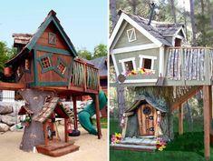 zwei-modelle-von-baumhäusern- in braun und in grau - Baumhaus bauen – schaffen Sie einen Ort zum Spielen für Ihre Kinder!