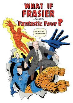 """What if Frasier Joined the Fantastic Four?"" Art Prints by Brandon Bird Essential Oils For Headaches, Best Essential Oils, Frasier Crane, Sign Off, Headache Relief, Fantastic Four, Funny People, Funny Kids, Comic Art"