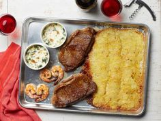Recipe of the Day: Steakhouse Sheet Pan Dinner for 2 Date night just got a lot easier — and less expensive. Here's a traditional surf-and-turf dinner with all the sides, but without the steakhouse prices or any complicated prep. And hardly any dishes? Mini Hamburgers, One Pan Meals, Meals For Two, Halloumi, All You Need Is, Granola, Beef Recipes, Cooking Recipes, Batch Cooking