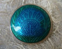 Liberty-Co-Sterling-Silver-Enamel-Button-with-Peacock-Design