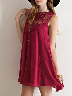 burgundy boho crochet lace dress (unless I want my butt hanging out, jeans or white cigarette style capris on going on underneath...)