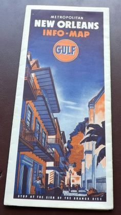 VINTAGE 1940s ? GULF NEW ORLEANS ROAD MAP GAS STATION old Street Louisiana la