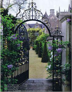 My fairytale gate leading to some of my fairytale garden Fairytale Garden, Dream Garden, Enchanted Garden, Fairytale Fashion, The Secret Garden, Secret Gardens, Wrought Iron Gates, Parcs, Garden Gates
