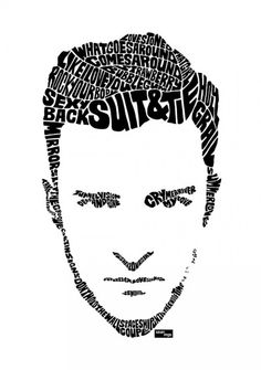 Typographic portrait of Justin Timberlake Selling Art ed96416a89591