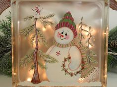 Lighted Glass Block Snowman 8 x 8 x 3 Hand by PaintingByElaine