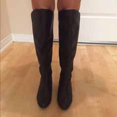 Black leather boots Bought from Nordstrom. Knee high black leather boots! Never been worn. Shoes Over the Knee Boots