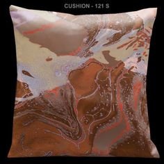 "Lama Kasso Impressions Brown 18"" Square Micro-Suede Pillow"