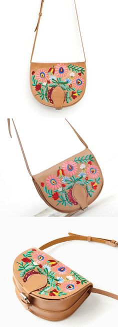 $51.00 - A Gypsy Embroidery Saddle Bag is now available at Pasaboho. ❤️  Welcome wholesale and retail. :: boho fashion :: gypsy style :: hippie chic :: boho chic :: outfit ideas :: boho clothing :: free spirit :: fashion trend :: embroidered :: flowers :: floral :: lace :: summer :: fabulous :: love :: street style :: fashion style :: boho style :: bohemian :: modern vintage :: ethnic tribal :: boho bags :: embroidery