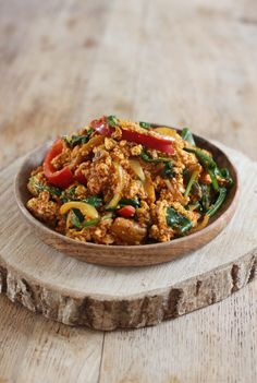 Vegan Spicy Scrambled Tofu. So delicious and full of flavour!